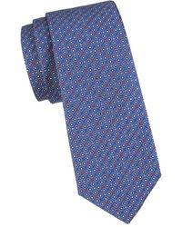 Canali Men's Geo Diamond Dot Silk Tie - Navy - Blue