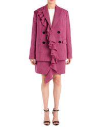MSGM - Plaid Pattern Wool A-line Mini Skirt - Lyst