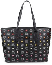 MCM Anya Logo Leather Tote - Black