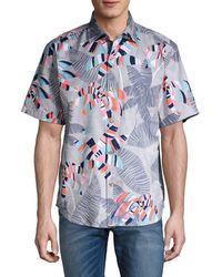 Tommy Bahama Deco Palm-print Short-sleeve Shirt - Blue