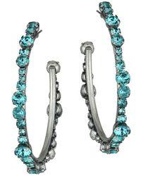 DANNIJO Women's Alicia Blue Crystal Hoop Earrings - Blue