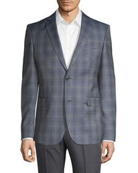Versace Men's Modern-fit Wool Printed Sportcoat - Blue Grey - Size 54 (44) R
