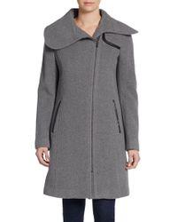 Saks Fifth Avenue Black Wool-blend Contrast-trim Coat - Gray