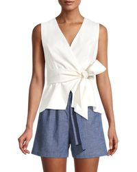 BCBGMAXAZRIA Women's Faux-wrap Top - Off White - Size S