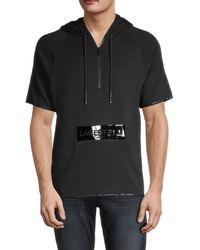 Karl Lagerfeld Men's Short-sleeve Pullover Hoodie - Black - Size Xs
