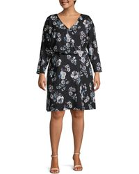 Adrianna Papell Plus Floral Long-sleeve Wrap Dress - Black