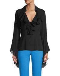 Michael Kors Silk Ruffle Bell-sleeve Top - Black