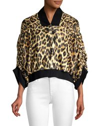 House of Fluff Leopard Print Bomber Jacket - Multicolor