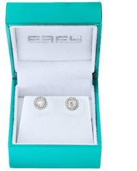 Effy - 14k White Gold And Diamonds Round Stud Earrings - Lyst