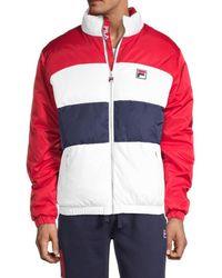 Fila Men's Neo Colorblock Puffer Jacket - Black Red - Size Xl
