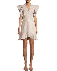 Robert Rodriguez Basia Ruffle Stripe Dress - Natural