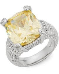 Judith Ripka - Fontaine Sterling Silver, Canary Crystal & White Topaz Solitaire Ring - Lyst