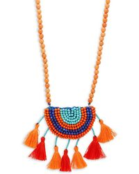 Panacea - Beaded Tassel Pendant Necklace - Lyst