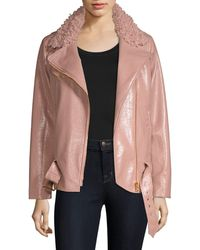 MILLY Crinkle Faux Shearling & Faux Leather Jacket - Pink