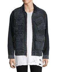 Hudson Jeans Oversized Denim Cargo Jacket - Black