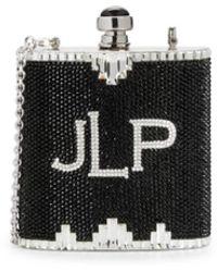 Judith Leiber Logo Rhinestone Flask Crossbody Bag - Black