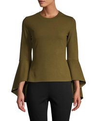 Lea & Viola Bell-sleeve Top - Green