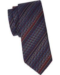 Missoni Logo Stripe Silk Tie - Blue