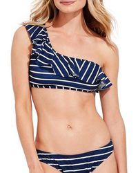 Vineyard Vines Women's Break Stripe One-shoulder Bikini Top - Navy Stripe - Size 3x (22-24) - Blue