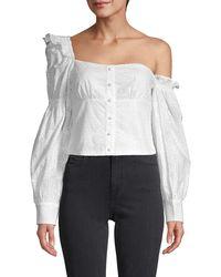 Lea & Viola One-shoulder Puff-sleeve Top - White