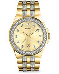 Bulova Goldtone Stainless Steel & Swarovski Crystal Bracelet Watch - Metallic