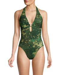 Robin Piccone Eden Abstract Print Plunge One-piece Bathing Suit - Green