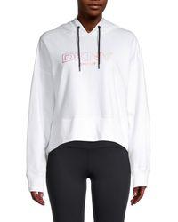 DKNY Women's Logo Cropped Hoodie - White - Size Xs