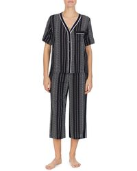 DKNY 2-piece Striped Top & Capri Pyjama Set - Black
