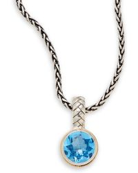 Effy - Blue Topaz, Sterling Silver & 18k Yellow Gold Round Pendant Necklace - Lyst