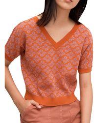 Kate Spade Floral Spade V-neck Knit Top - Orange