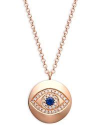 Saks Fifth Avenue - Women's 14k Rose Gold, Diamond & Sapphire Evil Eye Pendant Necklace - Lyst