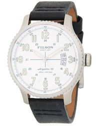 Filson Mackinaw Stainless Steel And Leather-strap Watch - Black