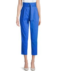 A.L.C. Diego Belted High-waist Cropped Trousers - Blue