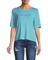 525 America Women's Striped Crewneck Tee - Turquiose - Size Xs - Blue