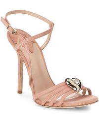 Aperlai - Brooch Accent Suede Sandals - Lyst