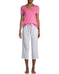 Nautica 2-piece Anchor-print Cotton-blend Pajama Set - Pink