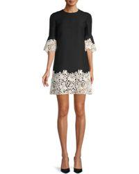 Valentino Women's Wool, Silk & Floral Lace Dress - Avorio - Size 38 (2) - Black