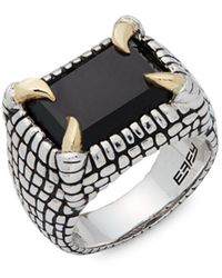 Effy - Onyx, Sterling Silver And 18k Yellow Gold Carved Midi Ring - Lyst