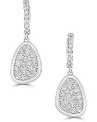 Saks Fifth Avenue Diamond And 14k White Gold Leaf Drop Earrings - Multicolour