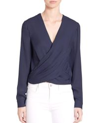 L'Agence - Silk Snap-back Blouse - Lyst