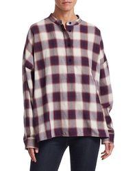 Elizabeth and James Women's Flint Oversized Plaid Cotton Shirt - Port Multi - Size Xs - Multicolour