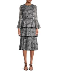 Mikael Aghal Women's Print Tiered Dress - Black - Size 8