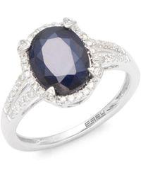 Effy - Pave Diamond, Sapphire & 14k White Gold Ring - Lyst