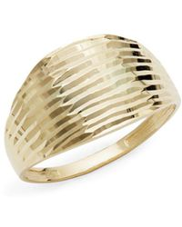Saks Fifth Avenue - Textured 14k Yellow Gold Band Ring - Lyst