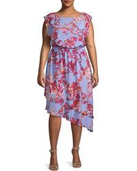 Adrianna Papell Plus Baroque Floral Blouson Dress - Multicolour
