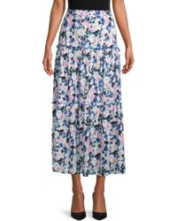 BCBGMAXAZRIA Floral Tiered Skirt - Blue