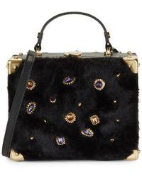 Sam Edelman Carressa Embellished Faux Fur Box Crossbody Bag - Black
