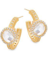Freida Rothman - Crystal Hoop Earrings - Lyst
