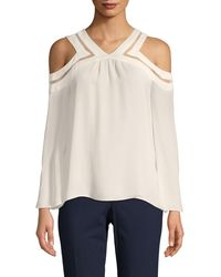 Ramy Brook Lex Cold-shoulder Silk Blouse - White