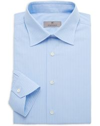 Canali Modern-fit Striped Shirt - Blue